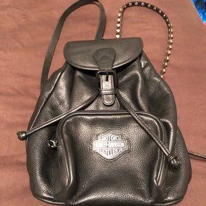 Barely Davidson Black Leather Backpack